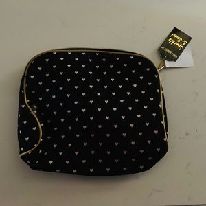 Other - Black with White Hearts Makeup Bag